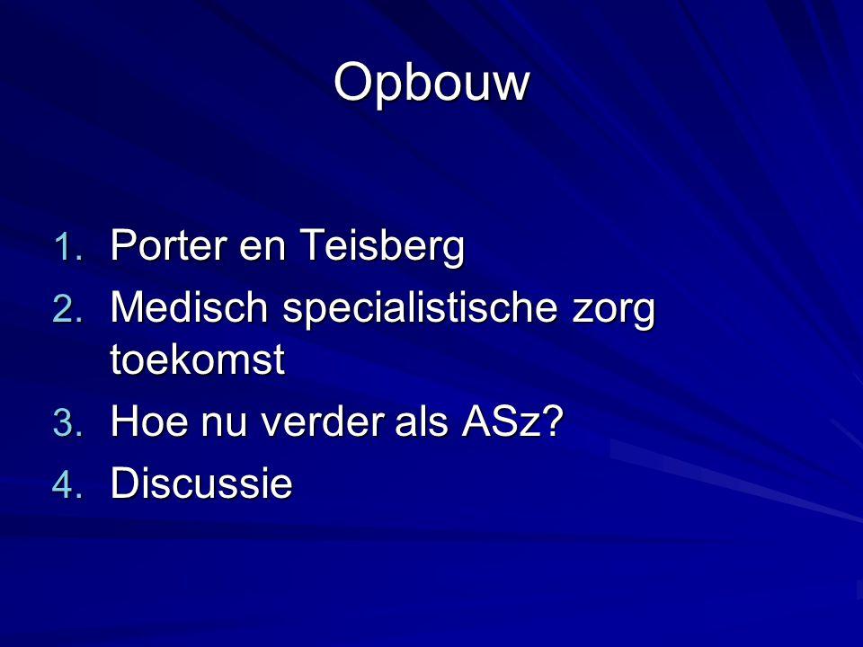 Opbouw Porter en Teisberg Medisch specialistische zorg toekomst