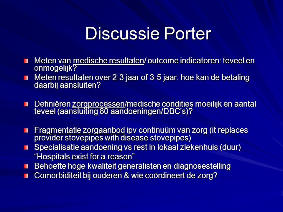 Discussie Porter Meten van medische resultaten/ outcome indicatoren: teveel en onmogelijk