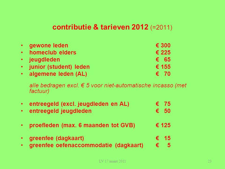 contributie & tarieven 2012 (=2011)