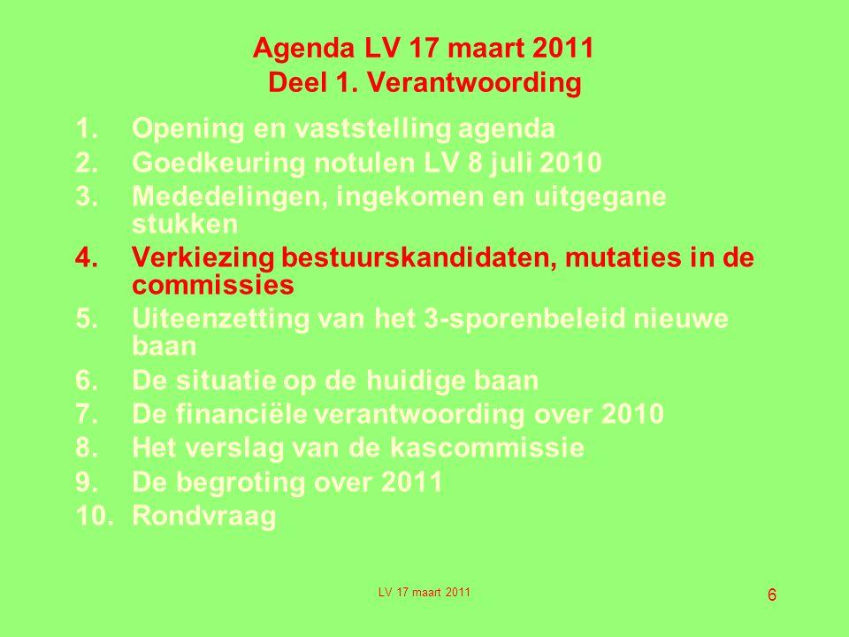 Agenda LV 17 maart 2011 Deel 1. Verantwoording