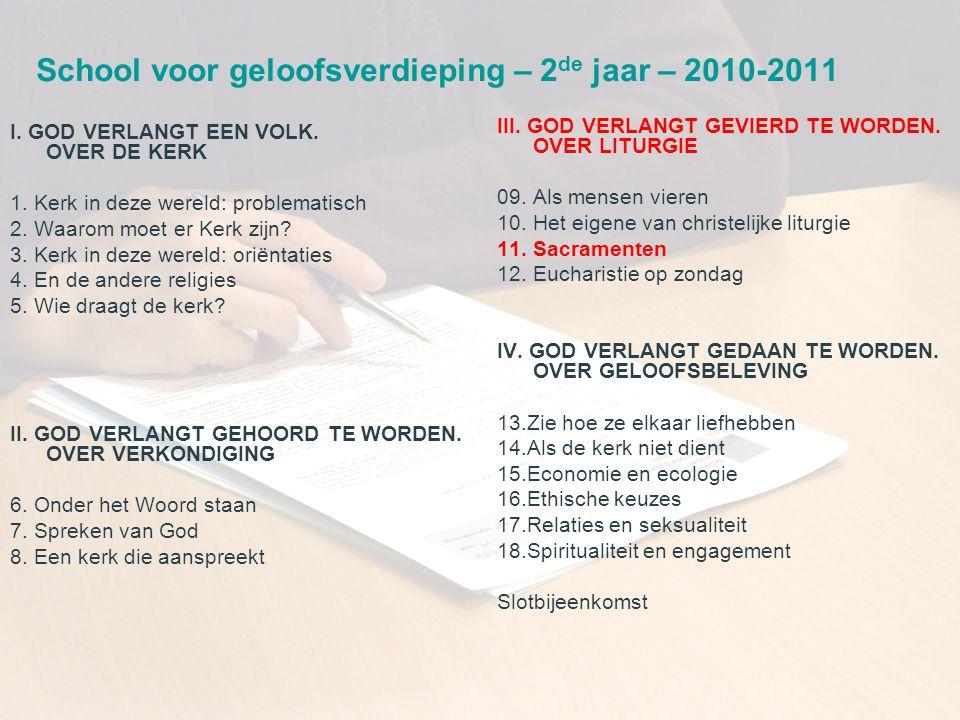School voor geloofsverdieping – 2de jaar – 2010-2011