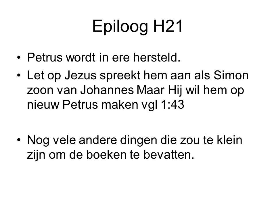 Epiloog H21 Petrus wordt in ere hersteld.