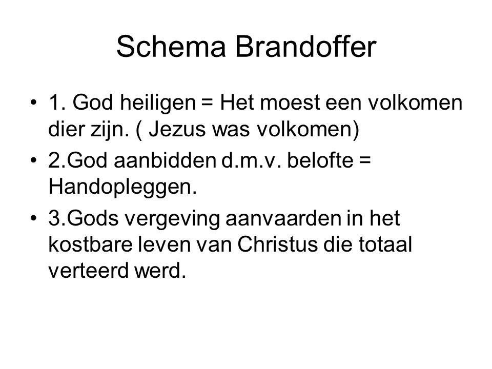 Schema Brandoffer 1. God heiligen = Het moest een volkomen dier zijn. ( Jezus was volkomen) 2.God aanbidden d.m.v. belofte = Handopleggen.