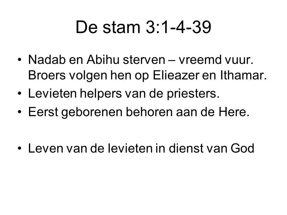 De stam 3:1-4-39 Nadab en Abihu sterven – vreemd vuur. Broers volgen hen op Elieazer en Ithamar. Levieten helpers van de priesters.
