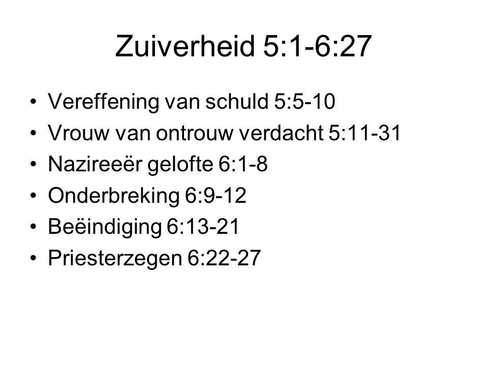 Zuiverheid 5:1-6:27 Vereffening van schuld 5:5-10