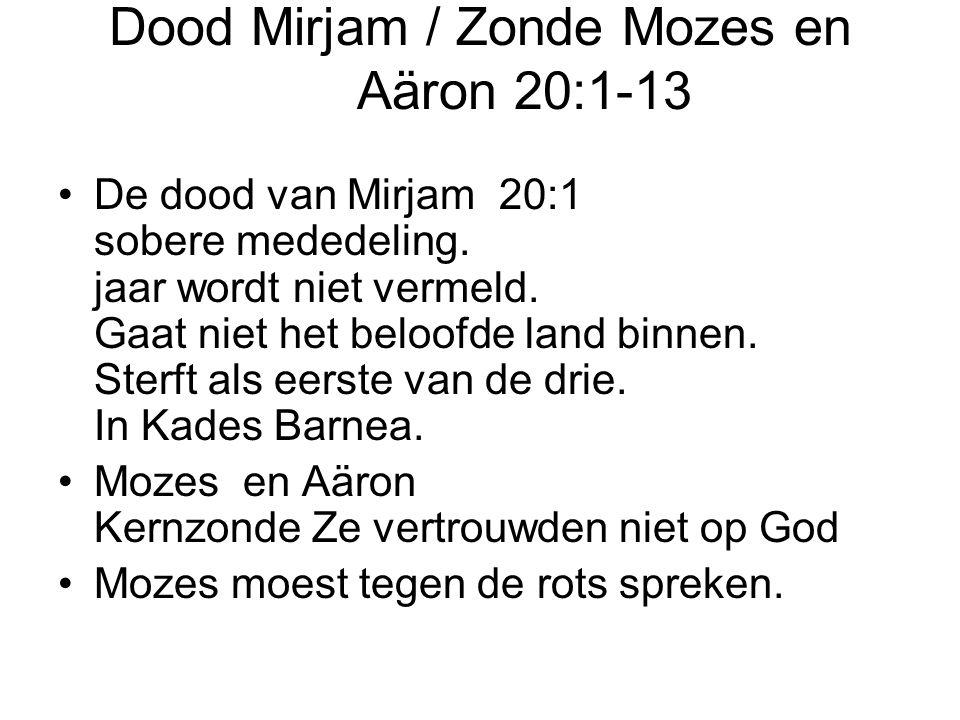 Dood Mirjam / Zonde Mozes en Aäron 20:1-13