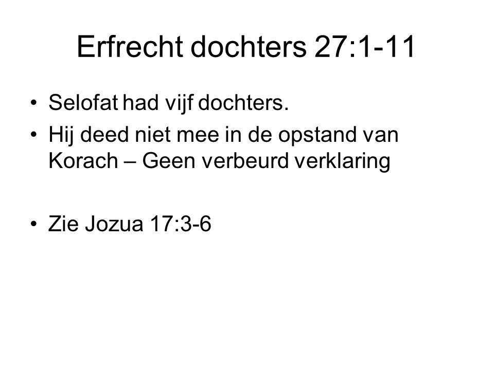 Erfrecht dochters 27:1-11 Selofat had vijf dochters.