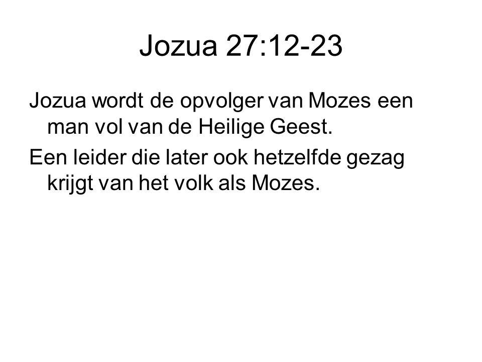 Jozua 27:12-23 Jozua wordt de opvolger van Mozes een man vol van de Heilige Geest.