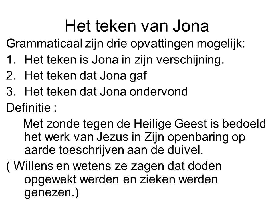 Het teken van Jona Grammaticaal zijn drie opvattingen mogelijk: