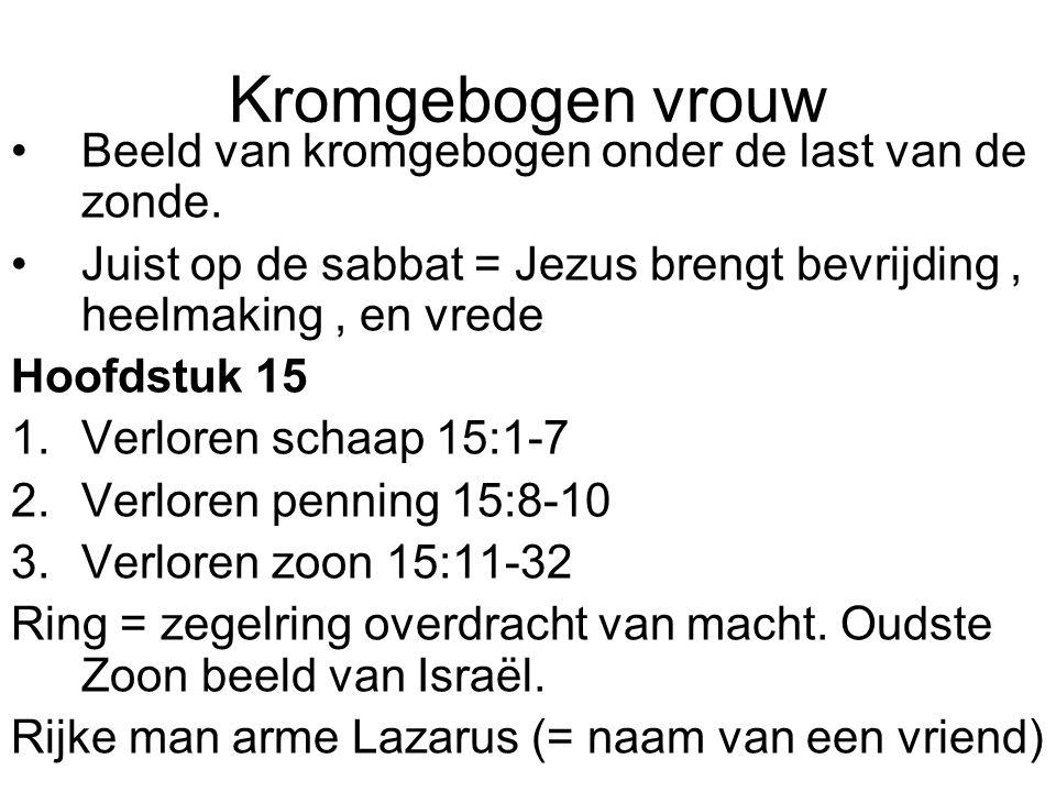 Kromgebogen vrouw Beeld van kromgebogen onder de last van de zonde.