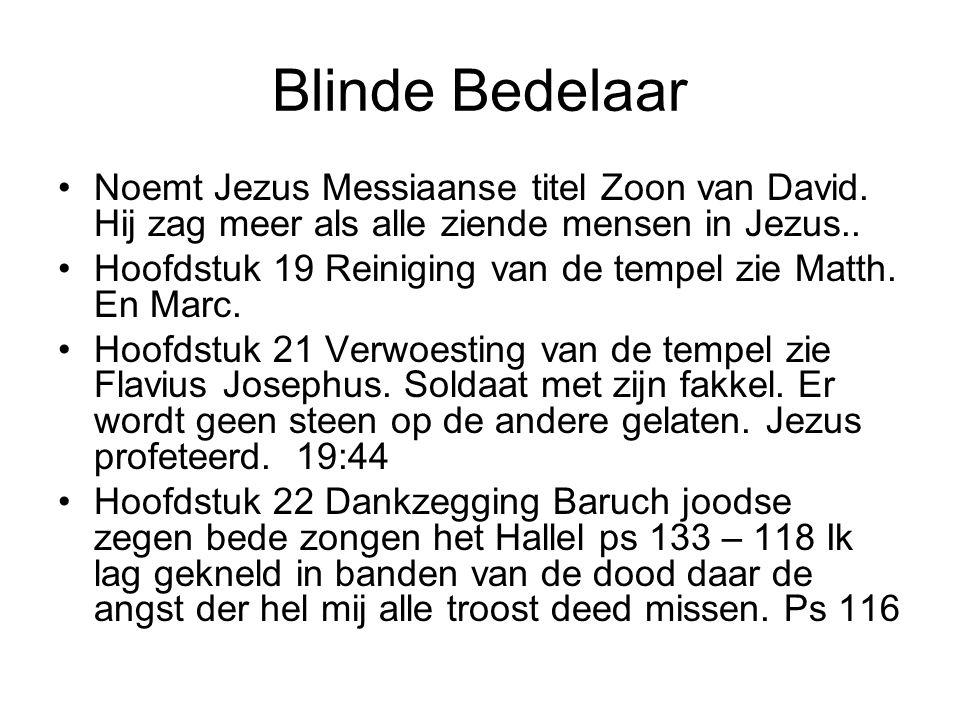 Blinde Bedelaar Noemt Jezus Messiaanse titel Zoon van David. Hij zag meer als alle ziende mensen in Jezus..