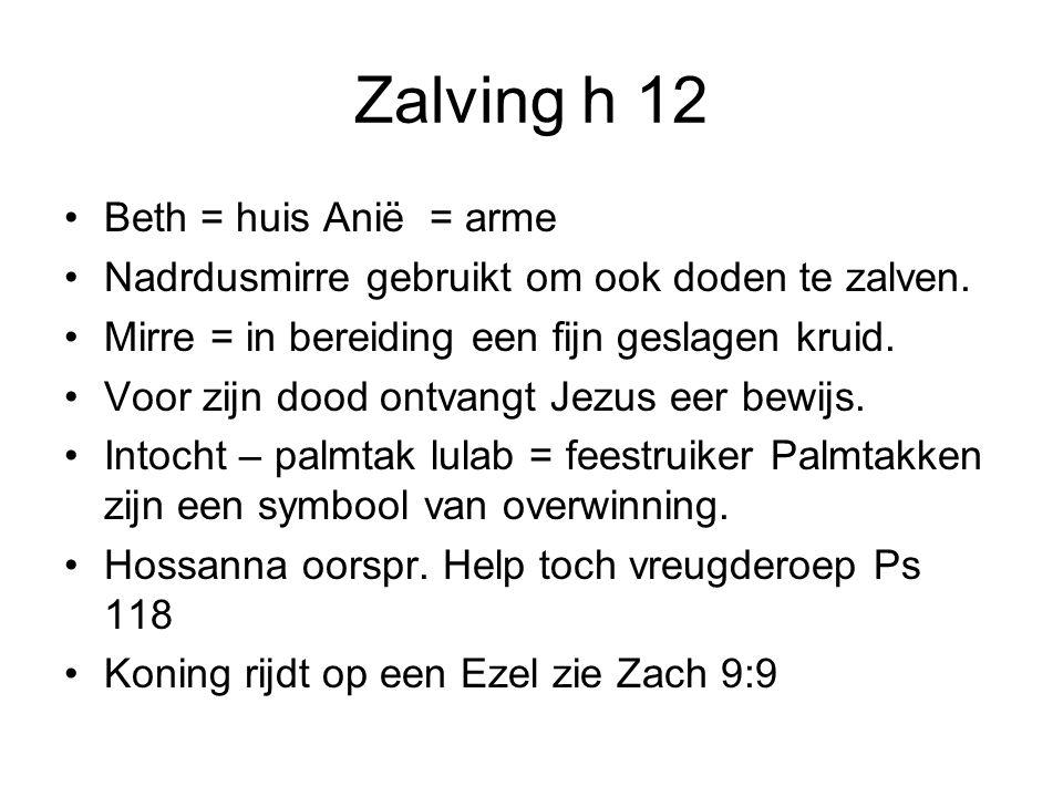 Zalving h 12 Beth = huis Anië = arme