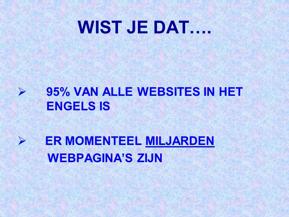 WIST JE DAT…. 95% VAN ALLE WEBSITES IN HET ENGELS IS
