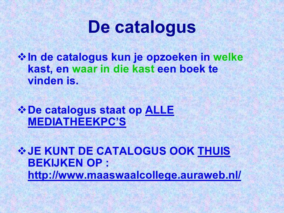 De catalogus In de catalogus kun je opzoeken in welke kast, en waar in die kast een boek te vinden is.