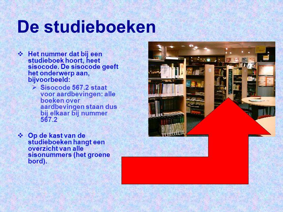 De studieboeken Het nummer dat bij een studieboek hoort, heet sisocode. De sisocode geeft het onderwerp aan, bijvoorbeeld: