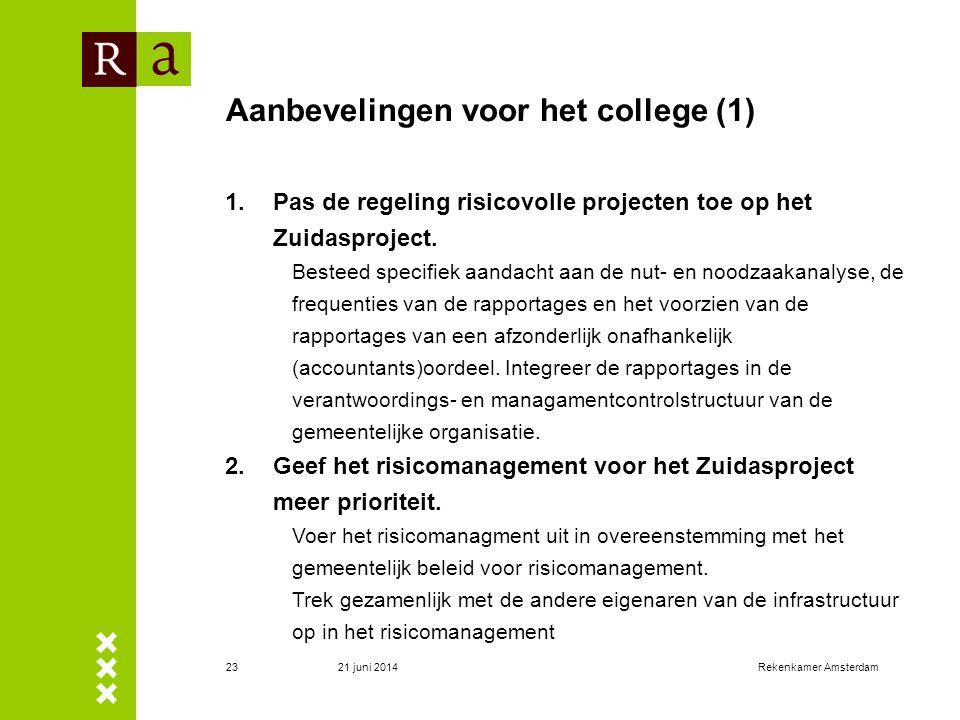 Aanbevelingen voor het college (1)