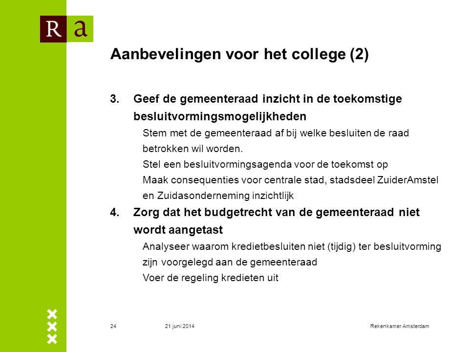 Aanbevelingen voor het college (2)