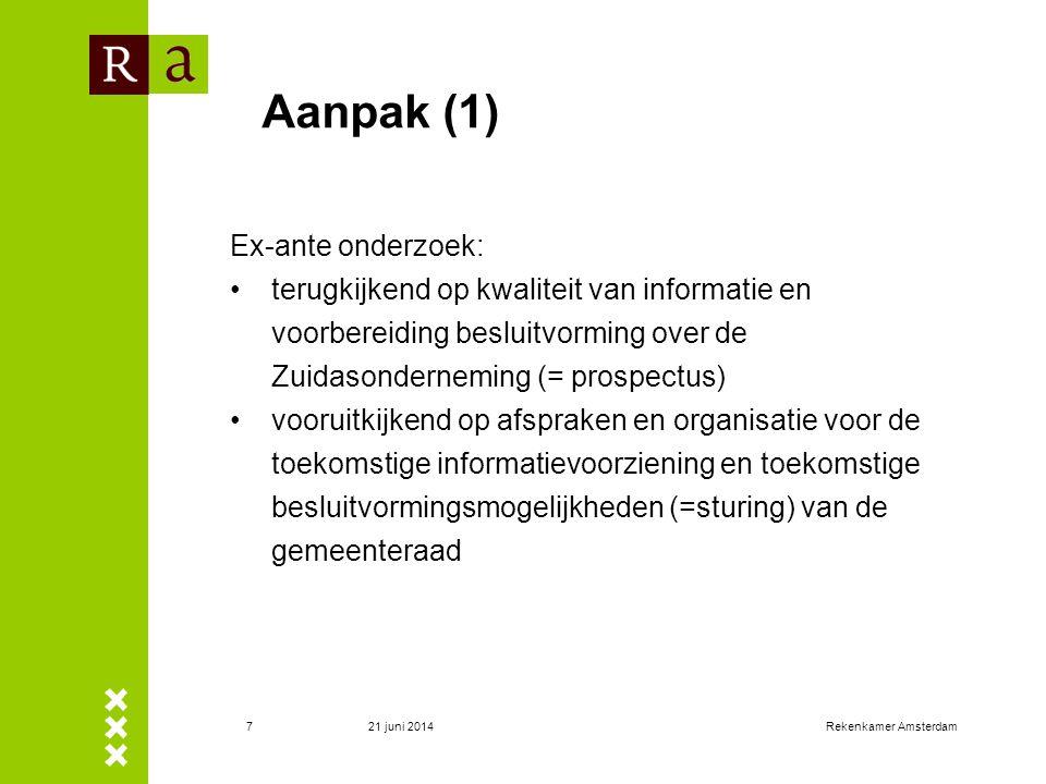 Aanpak (1) Ex-ante onderzoek:
