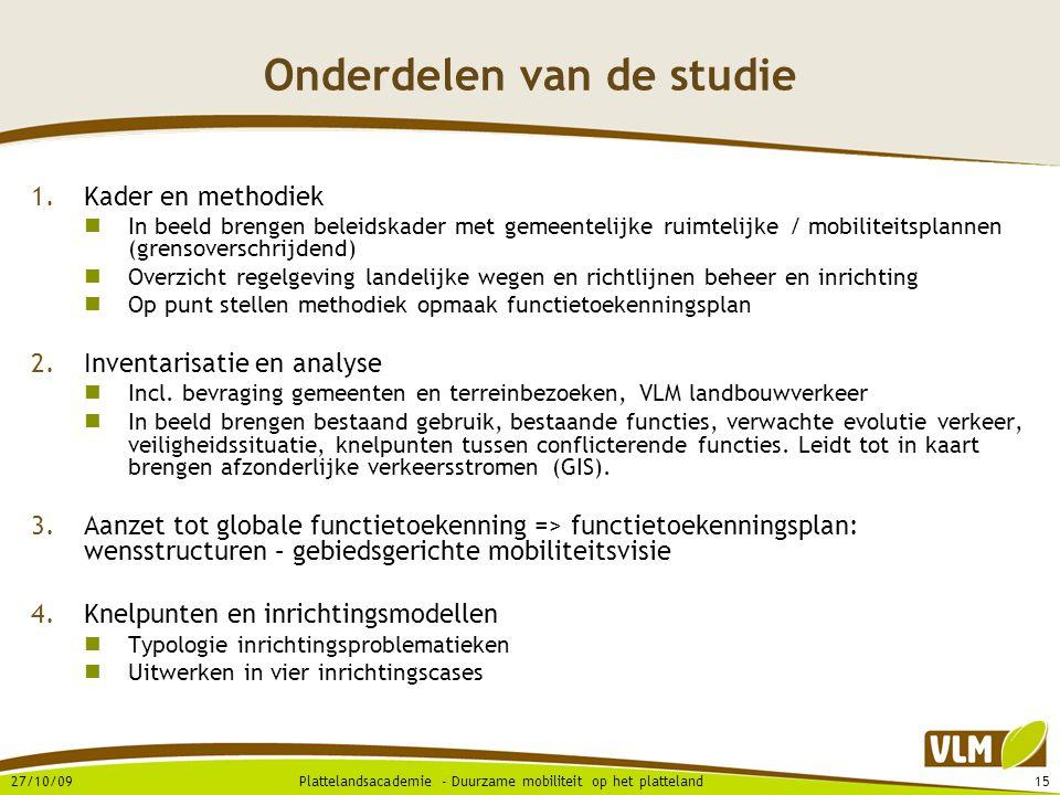 Onderdelen van de studie