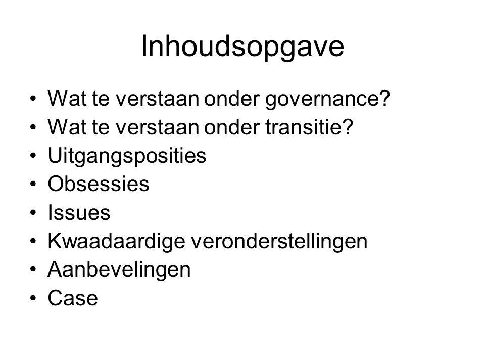 Inhoudsopgave Wat te verstaan onder governance