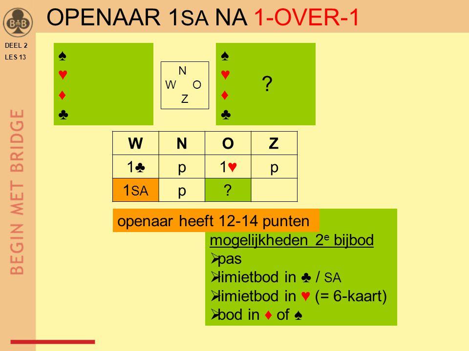 OPENAAR 1SA NA 1-OVER-1 ♠ ♥ ♦ ♣ ♠ ♥ ♦ ♣ W N O Z 1♣ p 1♥ 1SA