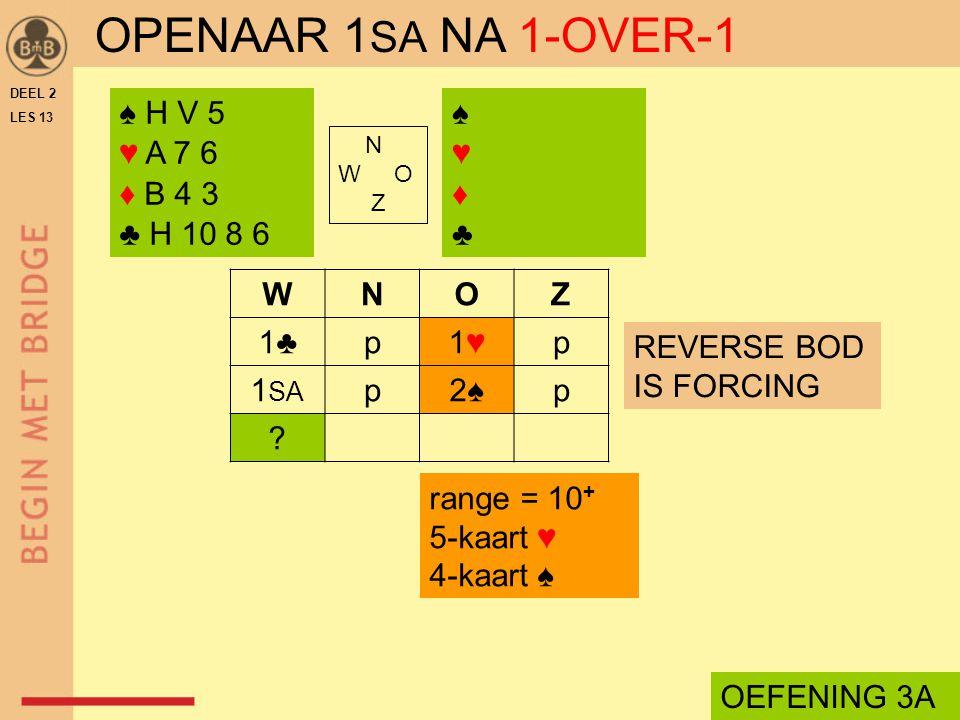 OPENAAR 1SA NA 1-OVER-1 ♠ H V 5 ♥ A 7 6 ♦ B 4 3 ♣ H 10 8 6 ♠ ♥ ♦ ♣ W N