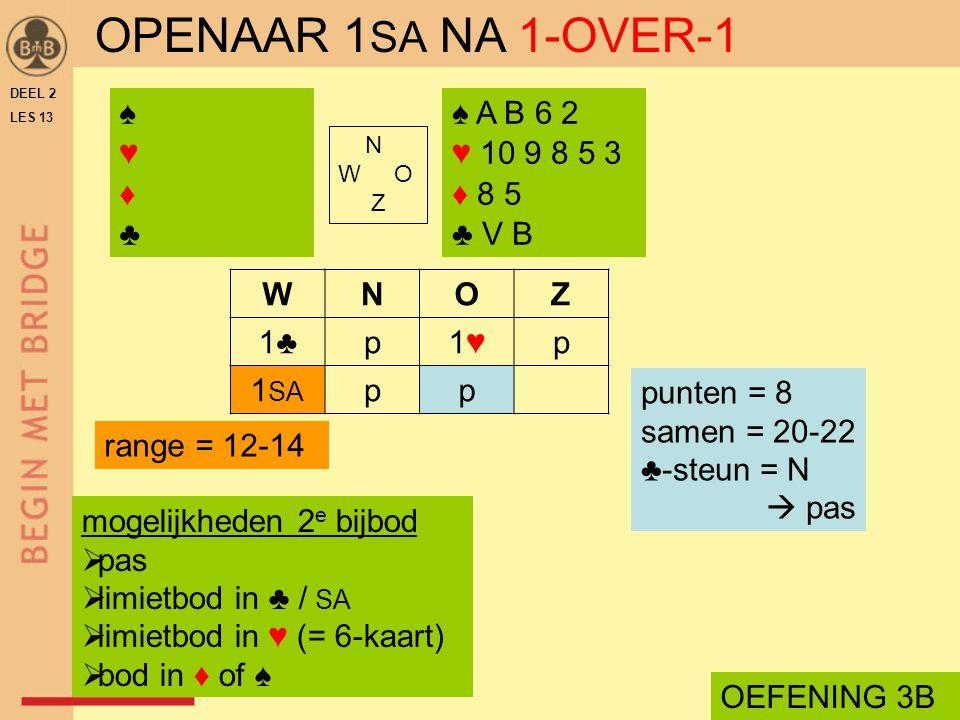 OPENAAR 1SA NA 1-OVER-1 ♠ ♥ ♦ ♣ ♠ A B 6 2 ♥ 10 9 8 5 3 ♦ 8 5 ♣ V B W N