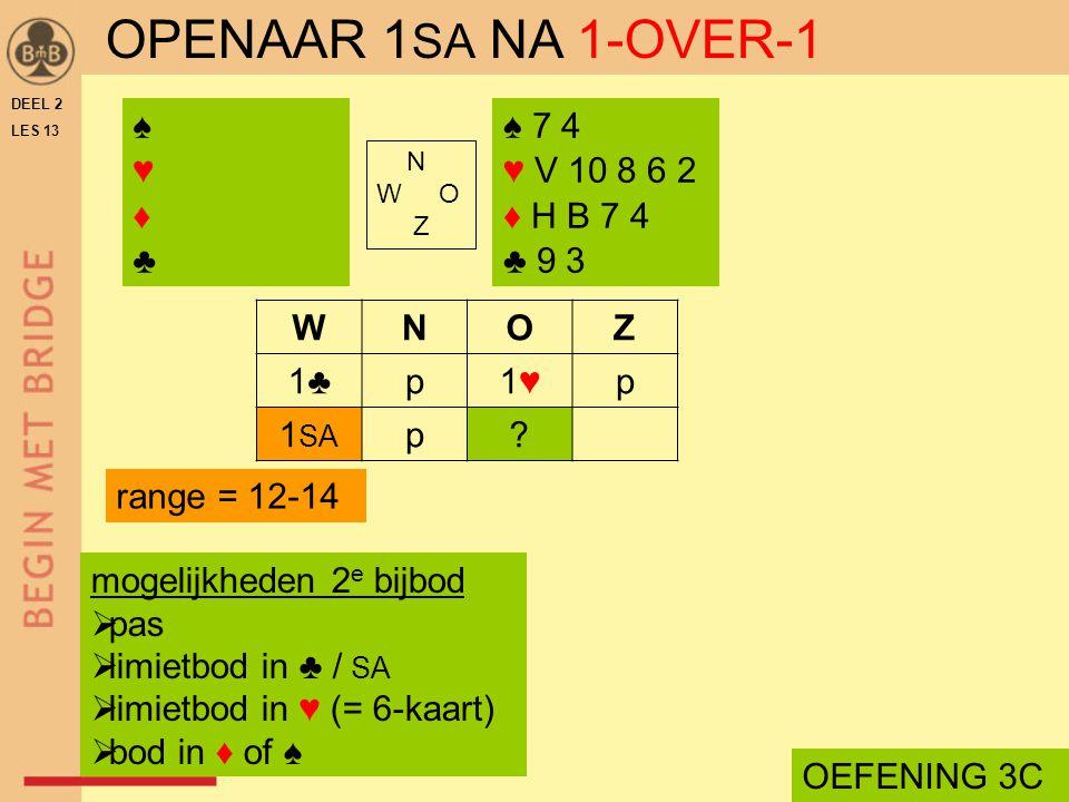 OPENAAR 1SA NA 1-OVER-1 ♠ ♥ ♦ ♣ ♠ 7 4 ♥ V 10 8 6 2 ♦ H B 7 4 ♣ 9 3 W N