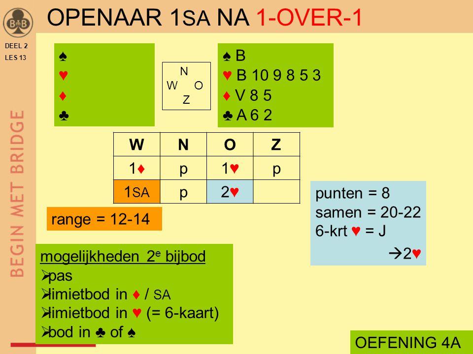 OPENAAR 1SA NA 1-OVER-1 ♠ ♥ ♦ ♣ ♠ B ♥ B 10 9 8 5 3 ♦ V 8 5 ♣ A 6 2 W N