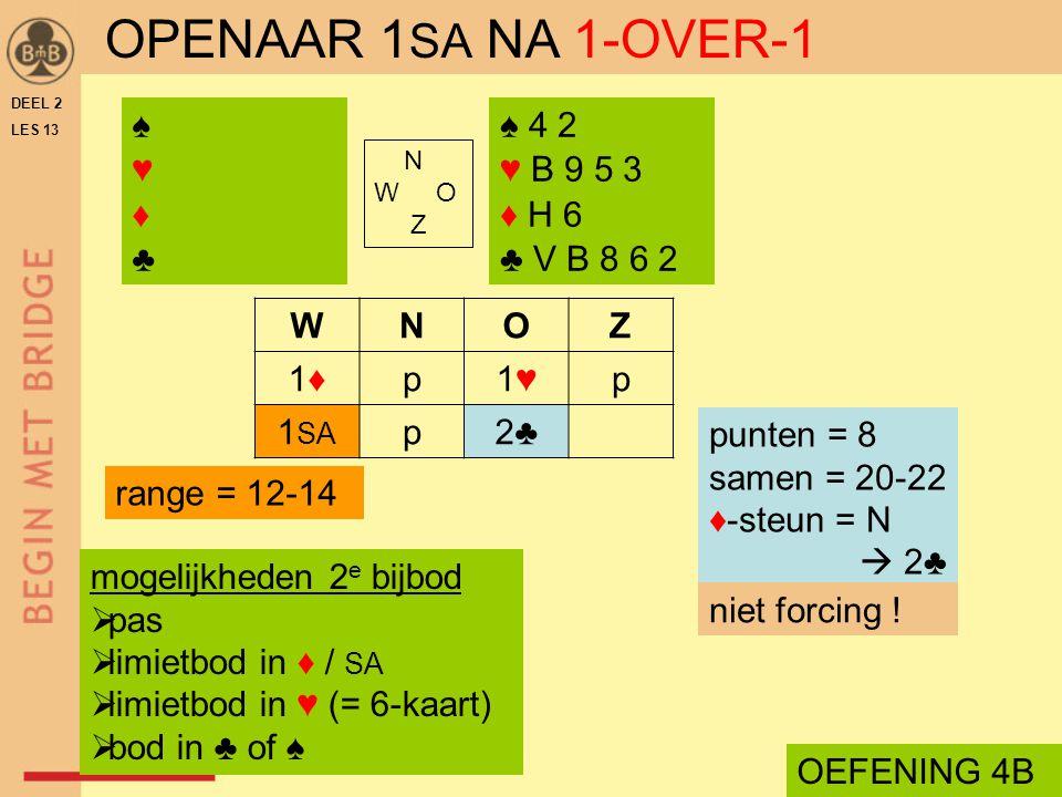 OPENAAR 1SA NA 1-OVER-1 ♠ ♥ ♦ ♣ ♠ 4 2 ♥ B 9 5 3 ♦ H 6 ♣ V B 8 6 2 W N