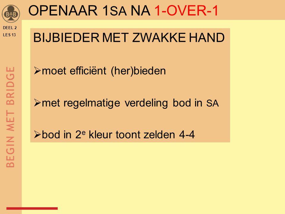 OPENAAR 1SA NA 1-OVER-1 BIJBIEDER MET ZWAKKE HAND
