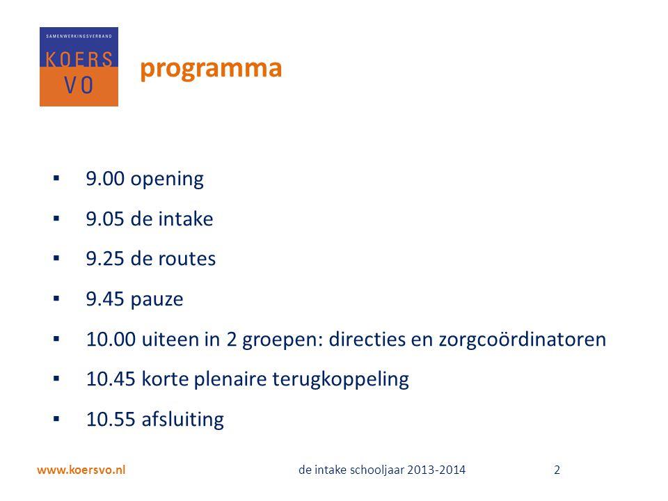 programma 9.00 opening 9.05 de intake 9.25 de routes 9.45 pauze