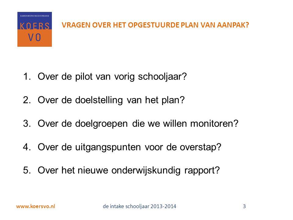 Over de pilot van vorig schooljaar Over de doelstelling van het plan