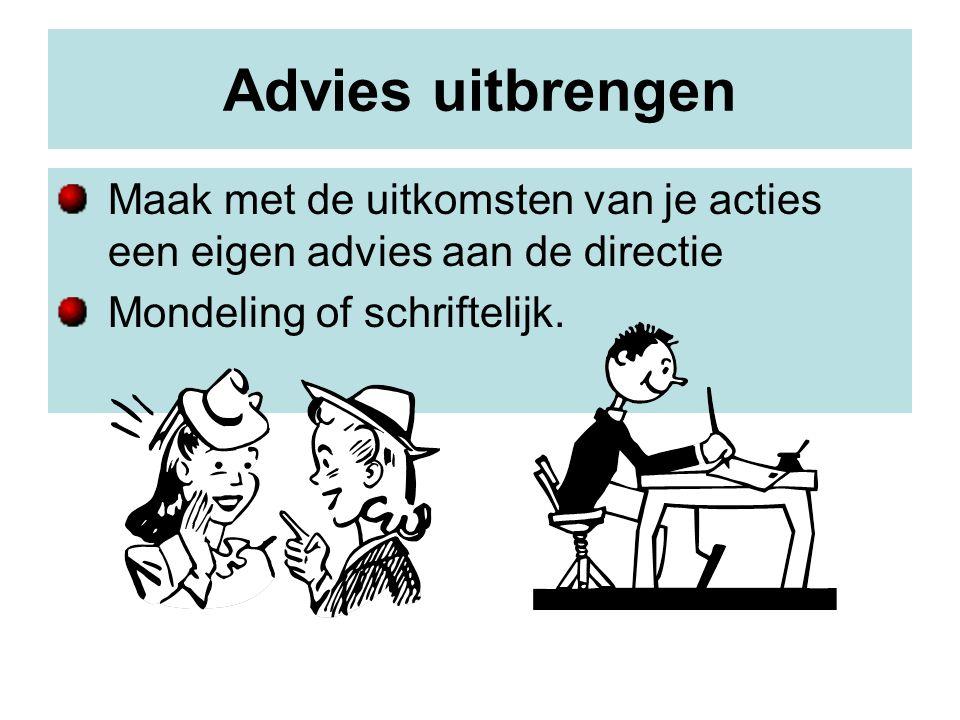 Advies uitbrengen Maak met de uitkomsten van je acties een eigen advies aan de directie.