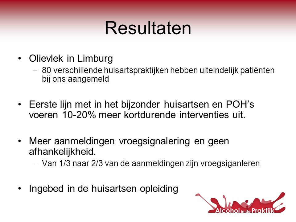 Resultaten Olievlek in Limburg