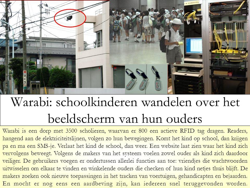 Warabi: schoolkinderen wandelen over het beeldscherm van hun ouders