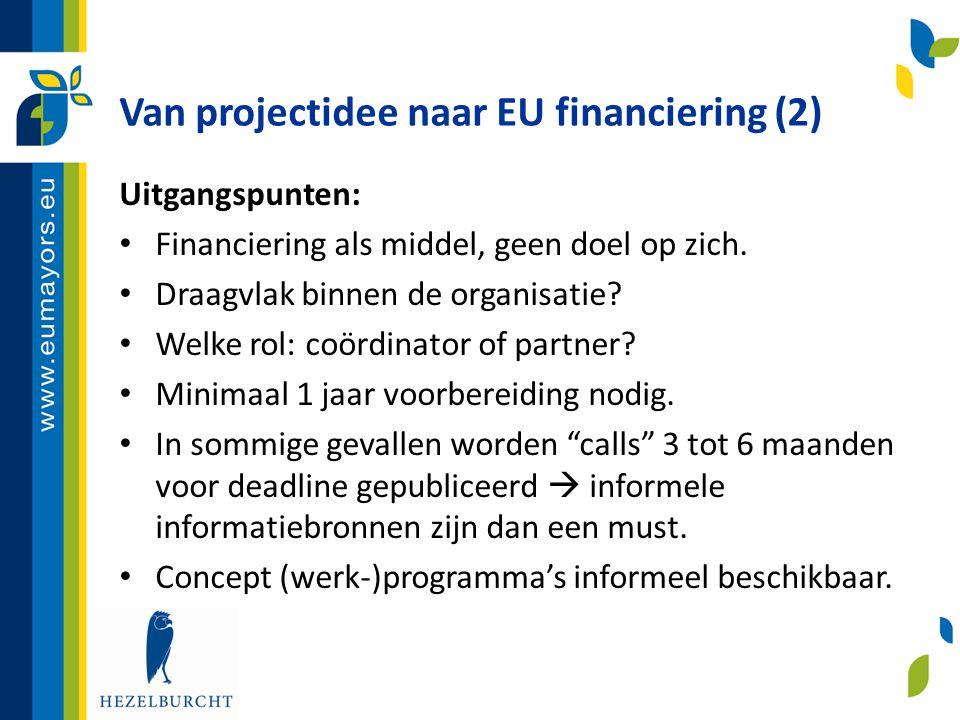 Van projectidee naar EU financiering (2)
