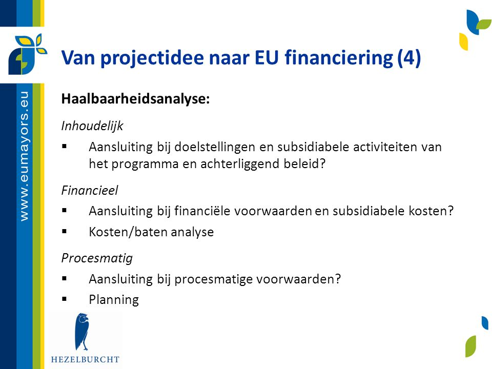 Van projectidee naar EU financiering (4)