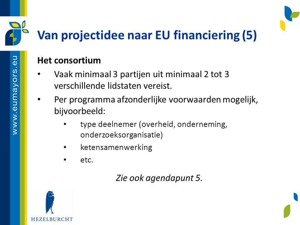 Van projectidee naar EU financiering (5)