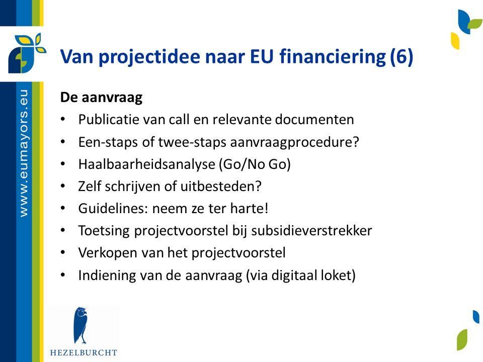Van projectidee naar EU financiering (6)