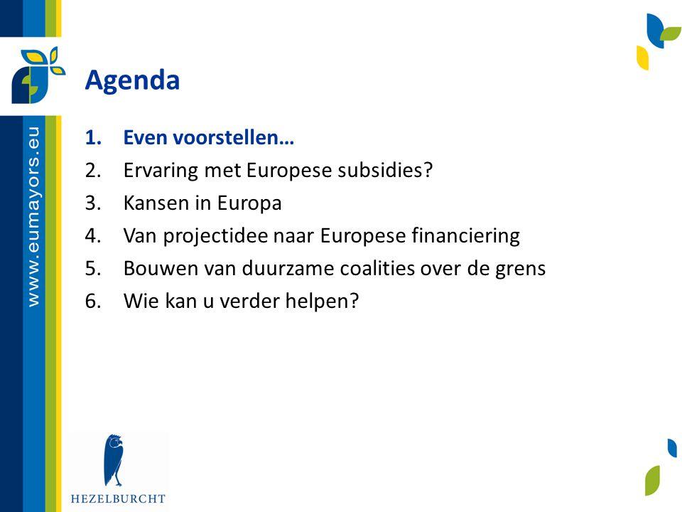 Agenda Even voorstellen… Ervaring met Europese subsidies