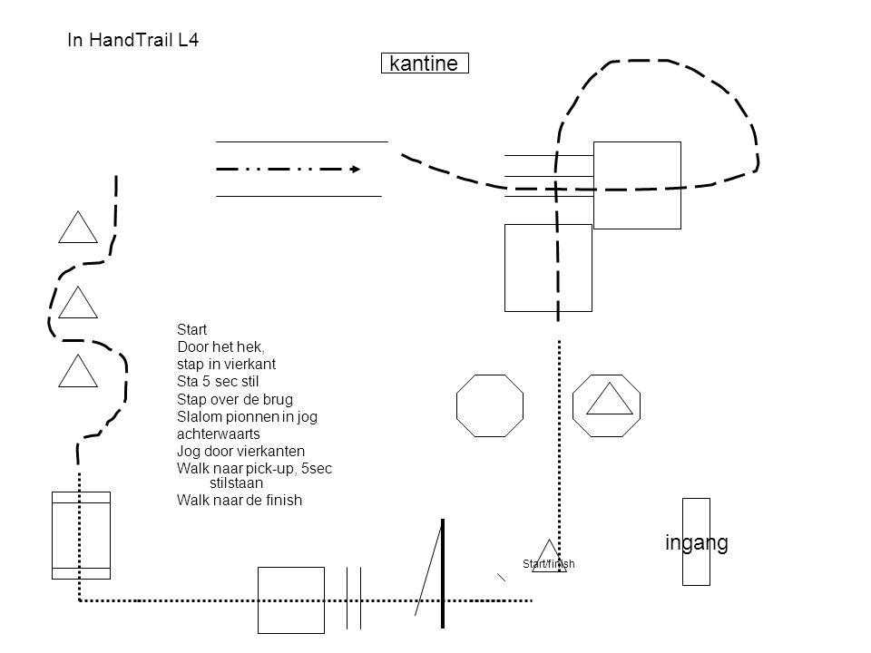 kantine ingang In HandTrail L4 Start Door het hek, stap in vierkant