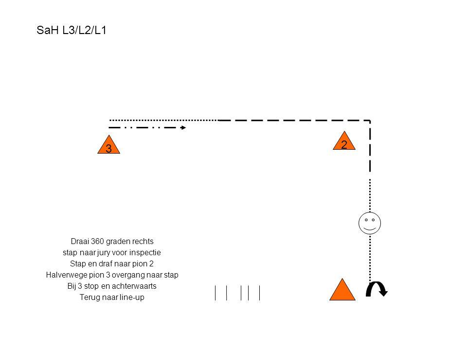SaH L3/L2/L1 2 3 Draai 360 graden rechts stap naar jury voor inspectie