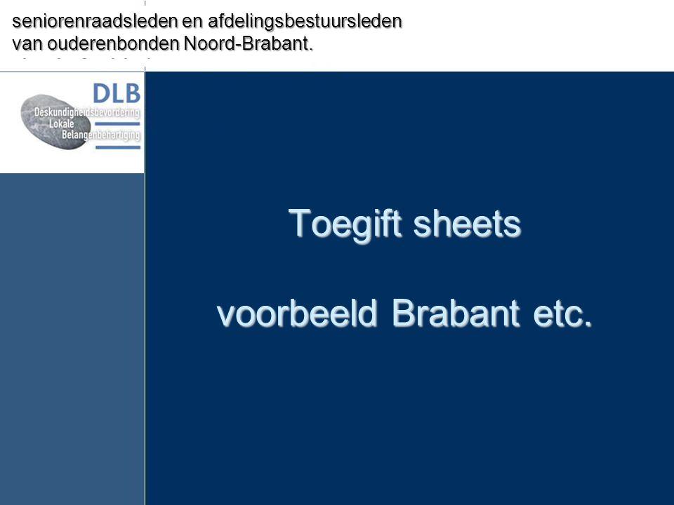 Toegift sheets voorbeeld Brabant etc.