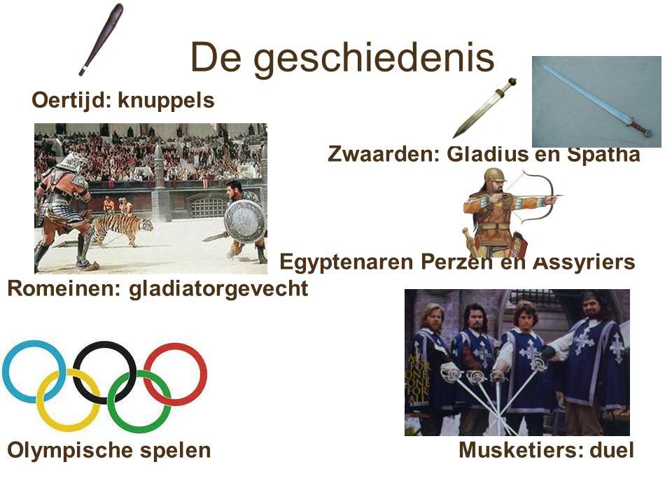 De geschiedenis Oertijd: knuppels Zwaarden: Gladius en Spatha