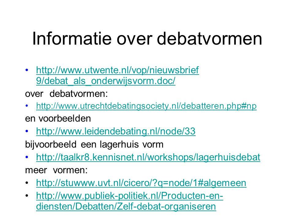 Informatie over debatvormen