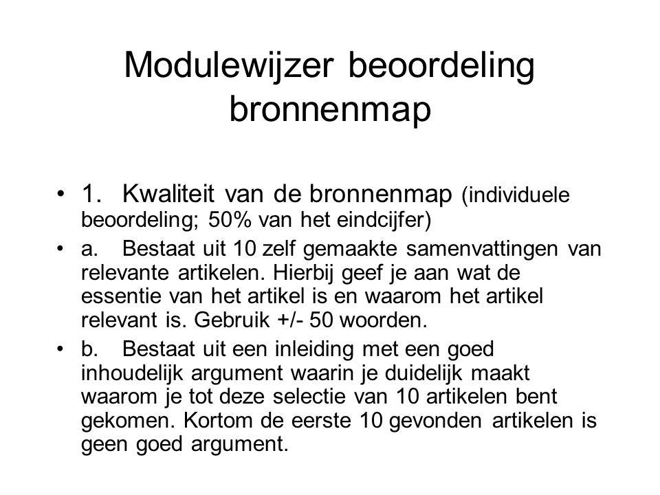 Modulewijzer beoordeling bronnenmap