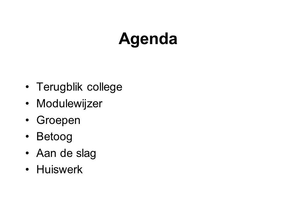 Agenda Terugblik college Modulewijzer Groepen Betoog Aan de slag