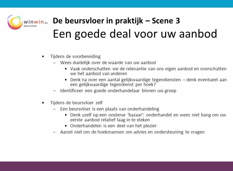 De beursvloer in praktijk – Scene 3 Een goede deal voor uw aanbod