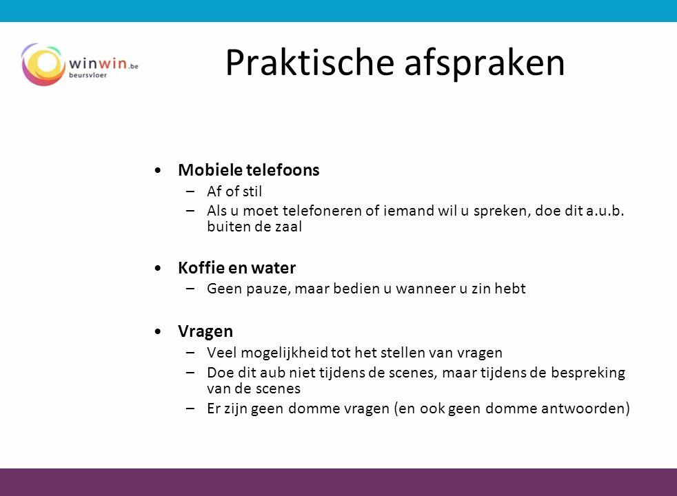 Praktische afspraken Mobiele telefoons Koffie en water Vragen